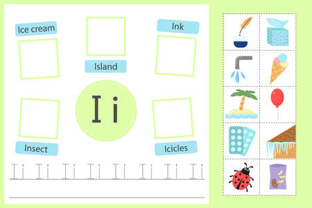 Alphabet tracing worksheet for preschool and kindergarten. Writing practice letter I. Exercises with cards for kids. Vector illustration