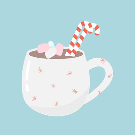 Cute mug with hot chocolate or cocoa on a blue background. The concept of comfort, New year and Christmas. Vector illustration.  イラスト・ベクター素材