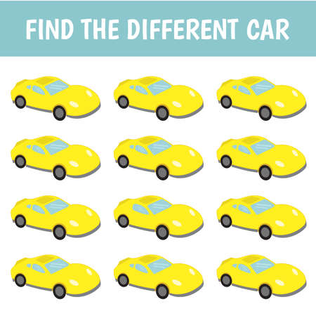 Find a car that's different from the others. Children's game of mindfulness. Vector.  イラスト・ベクター素材