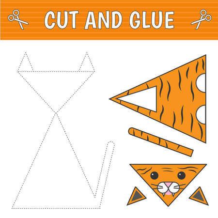 Cut and glue. A tiger of geometric shapes. Children's game. Constructor, application. Vector  イラスト・ベクター素材