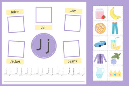 Alphabet tracing worksheet for preschool and kindergarten. Writing practice letter J. Exercises with cards for kids. Vector illustration