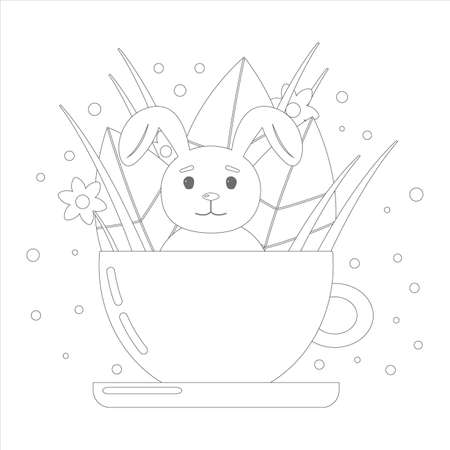 Coloring book for children. Cute bunny in a cup with leaves and flowers. Vector linear illustration on a white background.