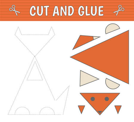 Cut and glue. A fox of geometric shapes. Children's game. Constructor, application. Vector  イラスト・ベクター素材