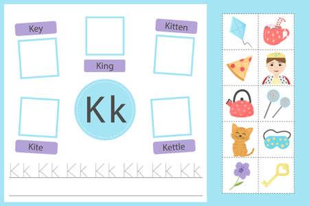 Alphabet tracing worksheet for preschool and kindergarten. Writing practice letter K. Exercises with cards for kids. Vector illustration  イラスト・ベクター素材