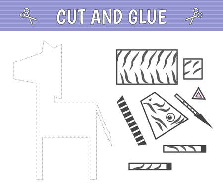 Cut and glue. A zebra of geometric shapes. Children's game. Constructor, application. Vector  イラスト・ベクター素材