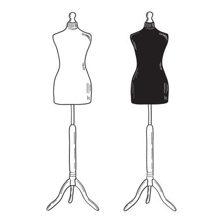 Retro clothing mannequin. White and black vector silhouettes. Vintage female mannequin dress dummy. Vector illustration of hand drawing style.