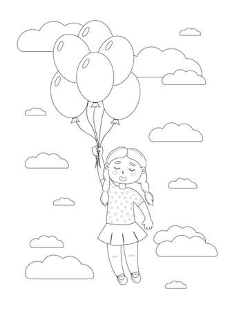 The girl is flying on balloons in the sky among the clouds. Coloring page. Greeting card. Vector.  イラスト・ベクター素材