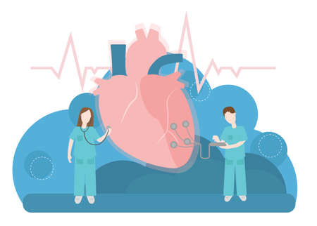 Vector medical illustration with heart diagnosis and treatment of the heart.  イラスト・ベクター素材