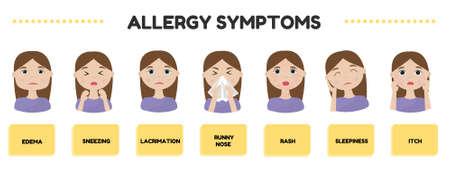 Allergy symptoms vector illustration  イラスト・ベクター素材