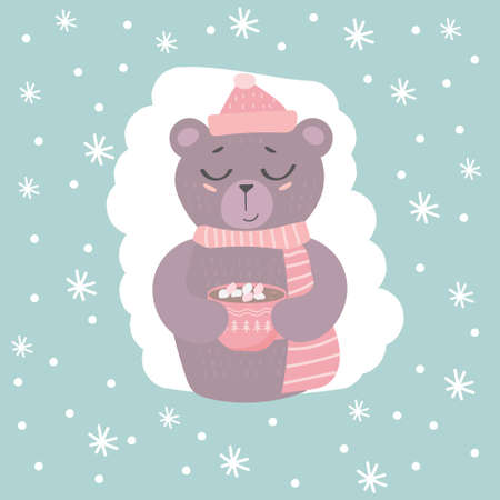 Cute bear with cocoa mug on with snowflakes.