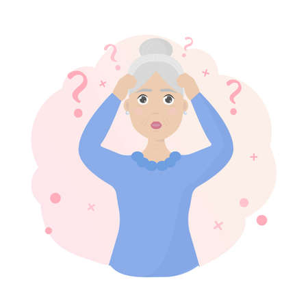 Old woman with Alzheimer's disease.  イラスト・ベクター素材