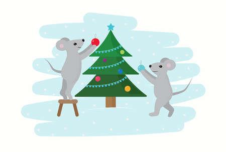 Cartoon mice decorate the Christmas tree.