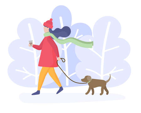Girl walking her dog in the park. Winter walk. Snowy forest. Vector illustration.