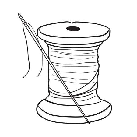 Thread spool with needle hand drawn illustration. Retro style, outline. Vector on a white background. Needlework and dressmaking items.