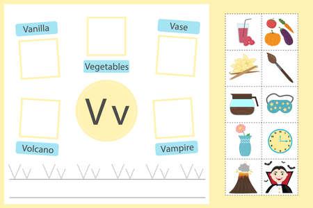 Alphabet tracing worksheet for preschool and kindergarten. Writing practice letter V. Exercises with cards for kids. Vector illustration