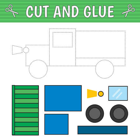A truck of geometric shapes. Cut and glue. Children's game. Constructor, application. Vector illustration 矢量图像