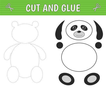 A panda of geometric shapes. Cut and glue. Children's game. Constructor, application. Vector illustration