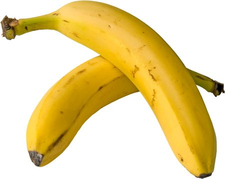 two isolated bananas