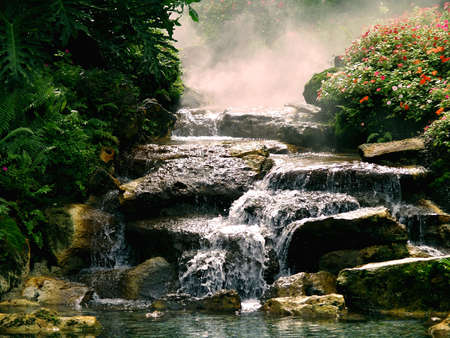 waterfall in amusement park