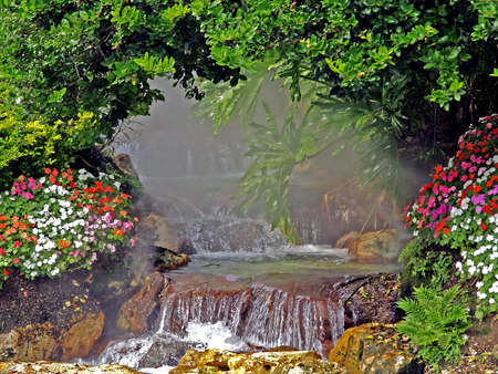 waterfall with mist Stock Photo