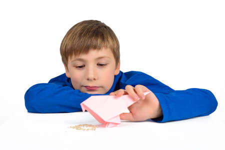 Origami: a schoolboy boy in a blue T-shirt sits at the table and plays with a paper bird, wants to feed her