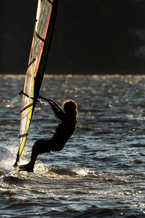 Wind surfer at sunset.