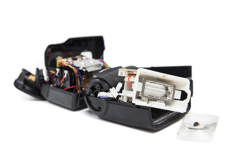 circuit brake: Broken Camera Speedlight Flash Gun Stock Photo