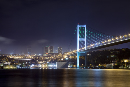 istanbul night: Istanbul Bosphorus Bridge and City Night Scene - Stock Image