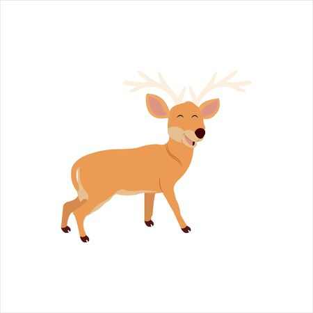 Christmas animal cartoon deer clip art illustration