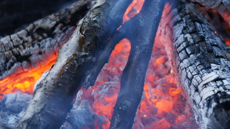 Burning fire wood. Close up of glowing coals and fire.