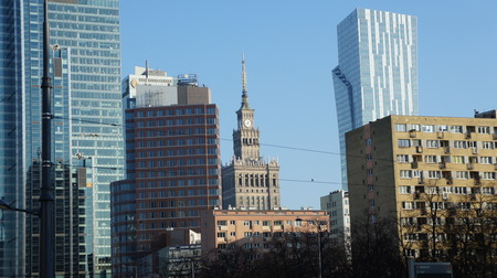Skyscrapers in the city center of Warsaw, Poland, Monday, January 1, 2018  Editorial