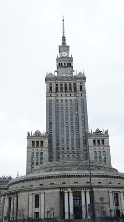 Palace of Culture Warsaw Poland city. Monday, January 1, 2018 Editorial
