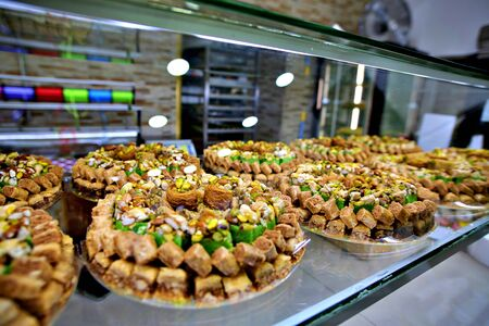 Arabic or Turkish baklava,also well known in middle east ,close up Standard-Bild - 133243526