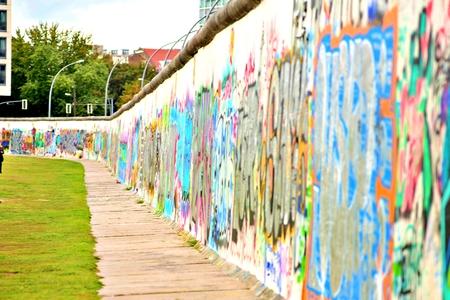 BERLIN, GERMANY - SEPTEMBER 15: Berlin Wall graffiti seen on Saturday, September 21, 2019 Berlin, East Side Gallery, Berlin Wall famous memorial.