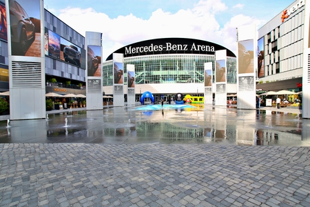 Berlin, Germany. Friday, September 27, 2019: The view of front the Mercedes Benz Arena. Standard-Bild - 133265394