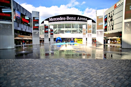 Berlin, Germany. Friday, September 27, 2019: The view of front the Mercedes Benz Arena. Editorial