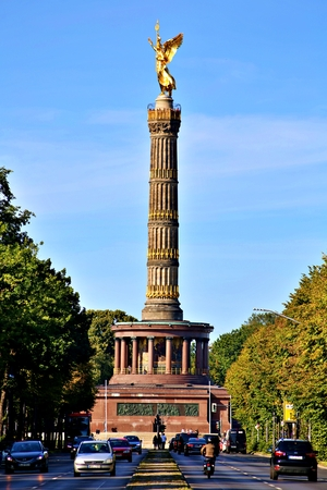 Berlin, Germany - Wednesday, October 2, 2019. The Victory Column is a monument in Berlin, Germany. Designed by Heinrich Strack after 1864 Standard-Bild - 133265399