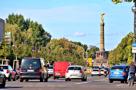 Berlin, Germany - Wednesday, October 2, 2019. The Victory Column is a monument in Berlin, Germany. Designed by Heinrich Strack after 1864 Standard-Bild - 133265405