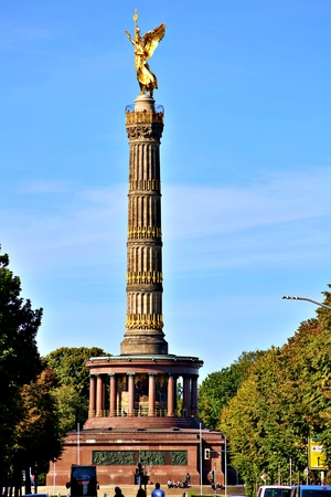 Berlin, Germany - Wednesday, October 2, 2019. The Victory Column is a monument in Berlin, Germany. Designed by Heinrich Strack after 1864 Standard-Bild - 133265441