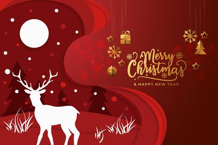 Christmas background with reindeer, moon, fir tree and golden decorative label