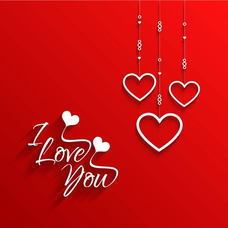 Happy Valentines Day Greeting Card vector illustration with isolated on rich red background with i love you text and hearts