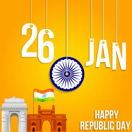 illustration of 26 January happy  republic day of India  vector creative poster background with indian flag and gateway of india and india gate.