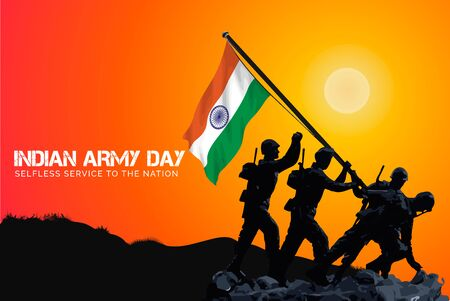 Indian Army Day  celebration (15 January) vector poster creative banner with tricolour background