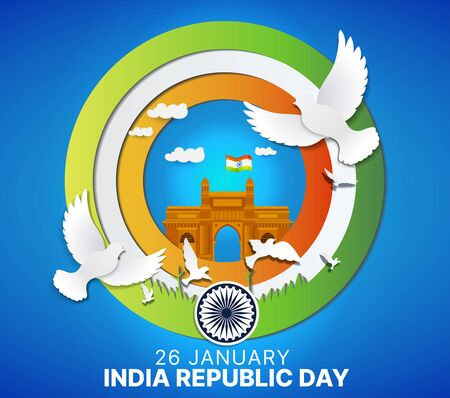 Paper cut style of 26  January happy republic day of India vector creative poster background with indian flag, india gate and birds