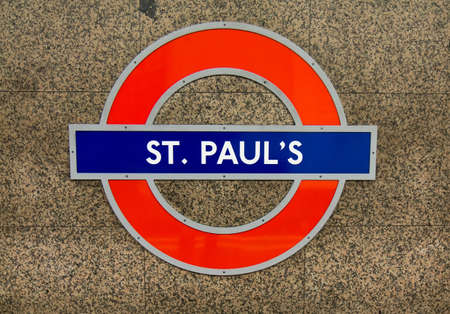 LONDON, UK - OCTOBER 18, 2014: Metro station sign St. Pauls on the central line in London, UK, October 18, 2014.