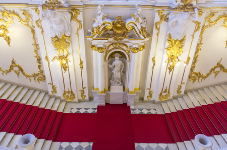 SAINT PETERSBURG, RUSSIA - MARCH 03, 2015: Interior of the State Hermitage, a museum of art and culture in Saint Petersburg, Russia. It was founded in 1764 by Catherine the Great