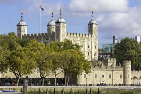 The historic castle Tower of London with a view of the Traitors Gate UK