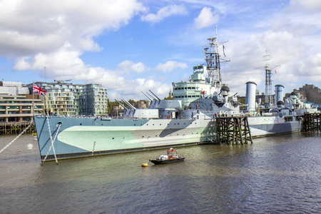 hms: View of HMS Belfast Royal Navy light cruise  warship Museum in London. Editorial