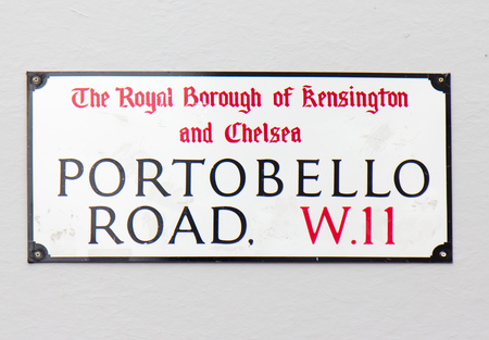 portobello: Portobello road sign, London