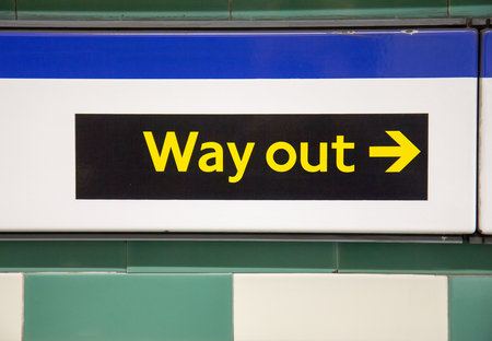 way out: Way out sign in London underground